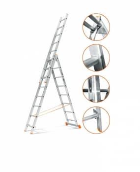 Трехсекционная лестница Гранит 3х8