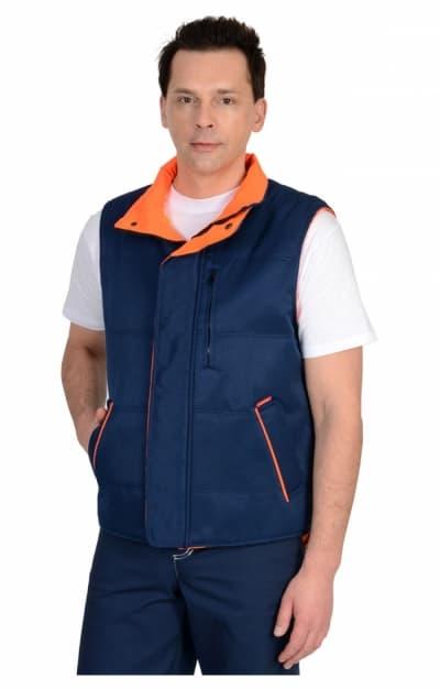 Жилет «ПРОФИ» синий на оранжевом флис