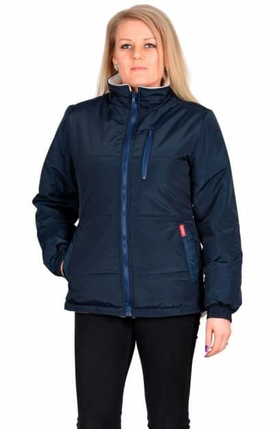 Куртка SNOW синяя с бежевым на подкладке флис