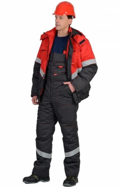 Костюм рабочий зимний «Навигатор», темно-серый с красным