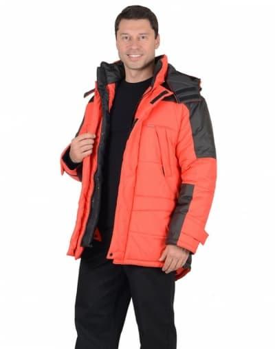 Куртка рабочая зимняя «Европа» длинная, цвет красный с черным