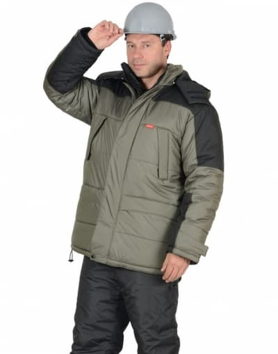 Куртка рабочая зимняя «Европа», цвет оливковый с черным