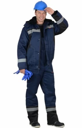 "Костюм ""СИРИУС-МАСТЕР-Д"" : куртка короткая, полукомбинезон тёмно-синий с СОП"