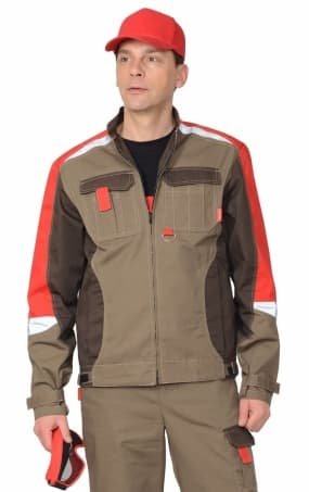 """Куртка """"СИРИУС-Фаворит-Мега"""" коричневая с красным"""