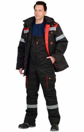 """Костюм """"СИРИУС-ТИТАН"""" зимний: курткадлинная и полукомбинезон, черный с красным и СОП-50мм."""