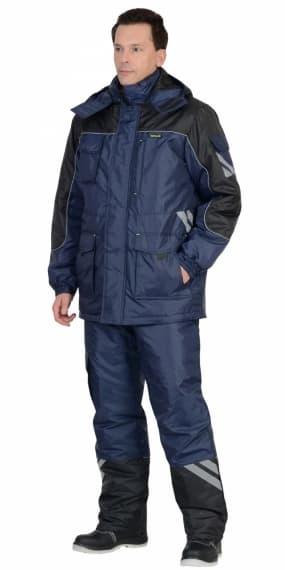 """Костюм """"СИРИУС-ФОТОН"""" зимний: куртка длинная, брюки тёмно-синий с черным и СОП-25 мм."""
