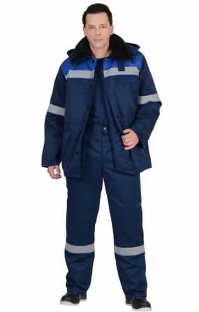 """Костюм """"СЕВЕР-2""""зимний:куртка длинная,брюки синий с васильком и СОП"""