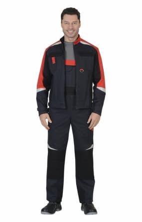 """Костюм """"СИРИУС-ФАВОРИТ-МЕГА"""" : куртка, п/к. серый с красным и черным с СОП"""