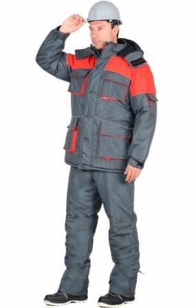 """Костюм """"СИРИУС-Спутник"""" зимний: куртка длинная, брюки, цвет: темно-серый с красным"""
