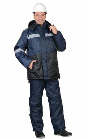 """Костюм """"МЕТЕОР"""": куртка длинный, полукомбинезон синий с чёрным и СОП"""