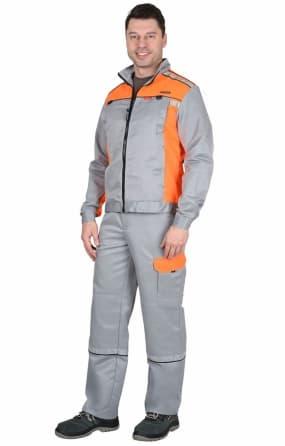 """Костюм """"СИРИУС-ПРАКТИК"""" куртка, п/к, светло-серый с оранжевым"""