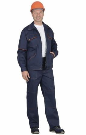 """Костюм """"СИРИУС-ПРОФИ-2"""" : куртка, брюки, синий с  оранжевым кантом"""