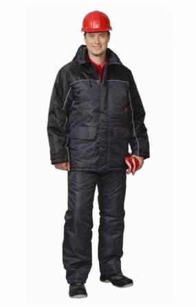 """Костюм """"БАЛТИКА"""": куртка длинная, полукомбинезон тёмно-серый с чёрным"""