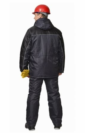 Костюм «БАЛТИКА» куртка длинная, полукомбинезон тёмно-серый с чёрным