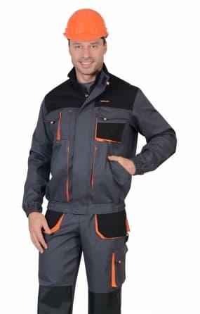 """Куртка """"СИРИУС-МАНХЕТТЕН"""" стрейч короткая темно-серая с оранжевым и черным"""