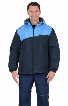 """Куртка """"ЭРИДАН"""" утепленная, темно-синяя с голубым"""