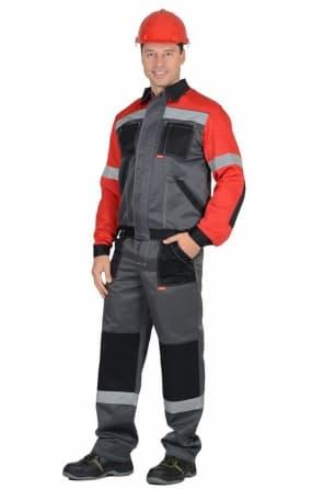 """Костюм """"СИРИУС-Лигор"""" куртка, брюки серый с красным"""