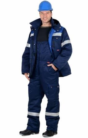 """Костюм """"СИРИУС-ТИТАН"""" зимний: куртка длинная, полукомбинезон синий с васильковым и СОП-50мм."""