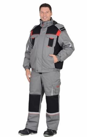 """Костюм """"СИРИУС-Стан"""" зимний: куртка, п/к, средне-серый с черной и красной отделкой"""
