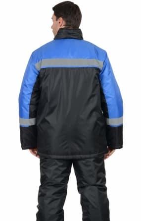 Куртка «Спецмонтаж» длинная, черная с васильковым и СОП