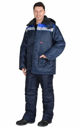 """Костюм """"СИРИУС-СТРОЙГРАД"""" зимний: куртка длинная, брюки темно синий с васильковым и СОП"""