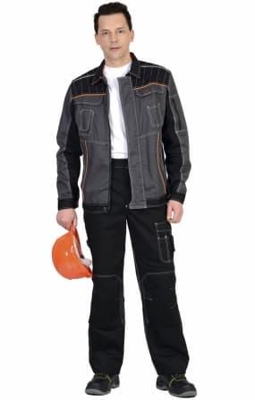 """Костюм """"СИРИУС-Престиж"""" куртка, брюки темно-серый с оранжевым кантом"""