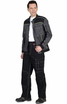 """Костюм """"СИРИУС-Престиж"""" куртка, брюки, темно-серый с лимонным кантом"""
