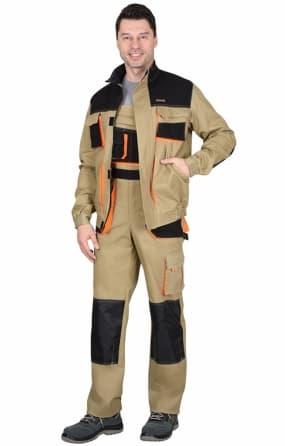 """Костюм """"МАНХЕТТЕН"""" короткая куртка, п/к, песочный с оранжевым и черным"""
