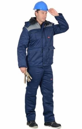 """Костюм """"СИРИУС-Профессионал"""" куртка, полукомбинезон, тёмно-синий с серым"""