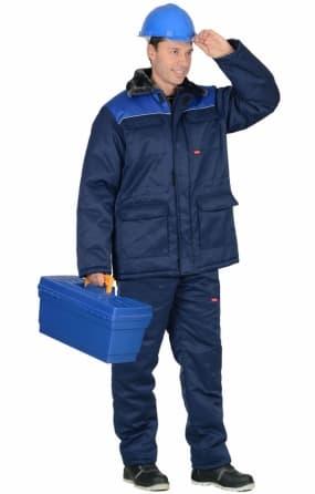 """Костюм """"РОСТ-Гретта"""" куртка длинная, брюки, синяя с васильковым"""