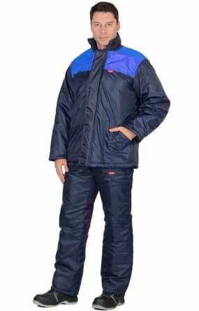"""Костюм """"Рост"""" куртка синяя с васильковым, брюки темно-синие"""