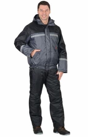 """Костюм """"ГАСТАРБАЙТЕР-2"""" зимний: куртка,полукомбинезон тёмно-серый с чёрным и СОП"""
