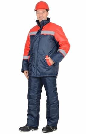 """Костюм """"Спецмонтаж"""" зимний: курткадлинная, брюки синий с красным и СОП"""
