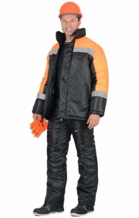 """Костюм """"Спецмонтаж"""" зимний: куртка, брюки чёрный с оранжевым и СОП"""