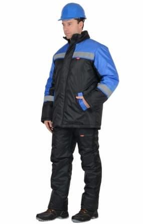 """Костюм """"Спецмонтаж"""" зимний: куртка,полукомбинезон чёрный с васильковым и СОП"""