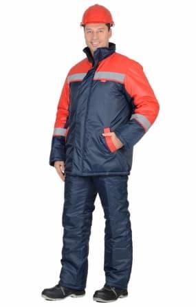 """Костюм """"Спецмонтаж"""" зимний: полукомбинезон, куртка длинная, синяя с красным и СОП"""