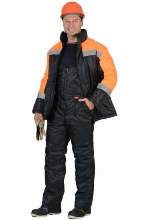"""Костюм """"Спецмонтаж"""" зимний: куртка, полукомбинезон чёрный с оранжевым и СОП"""