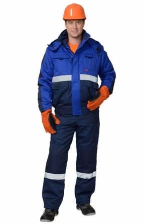 """Костюм """"НОВАТОР"""" зимний: куртка короткая, полукомбинезон синий с васильковым и СОП"""
