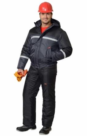Костюм рабочий зимний «Гастрабайтер-2» с брюками, темно-серый с СОП