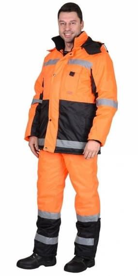 Костюм «МЕТЕОР» куртка длинная, полукомбинезон оранжевый с чёрным и СОП